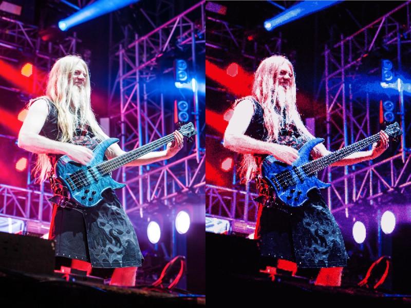 So wie links hätte der Sound von Nightwish klingen sollen, so wie rechts kaum er nach der Arbeit des «Soundtechnikers» aus den Boxen.