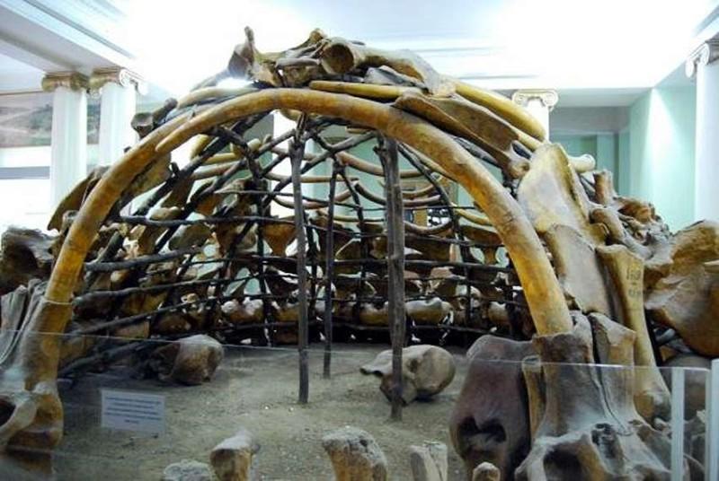 Rekonstruktion eines  eiszeitlichen Mammutjäger-Lagers. Jagd, Fleischverzehr und die Nutzung tierischer Ressourcen sind für den frühen Menschen mehrfach belegt (Foto: Sasha Desyaterik, http://archaeologyofmyth.com/expeditions/)
