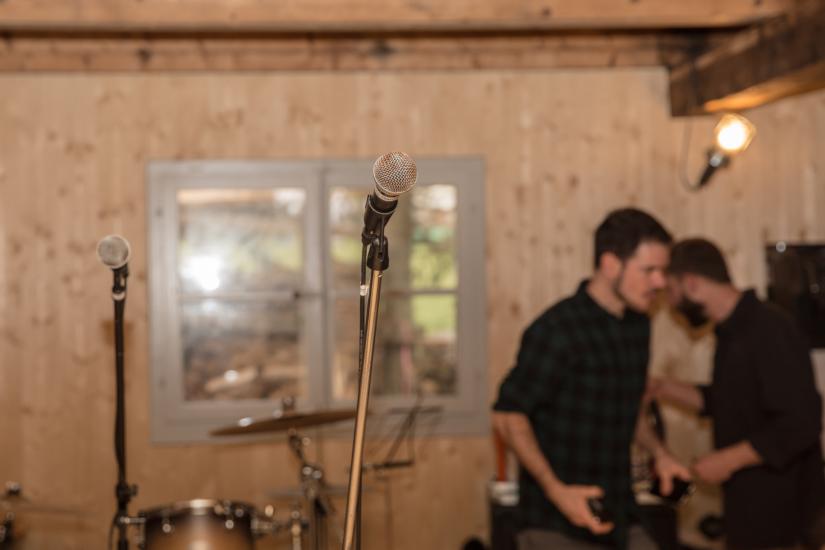 Mikrophone im Proberaum von Wilcox